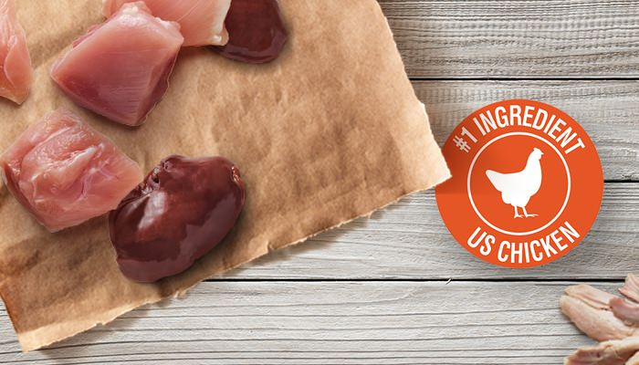 chicken chunks and raw liver with #1 ingredient us chicken