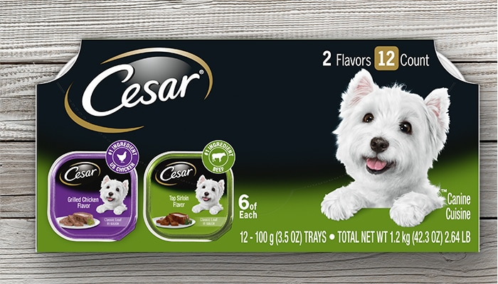 CESAR grilled chicken and top sirloin dog food multipack