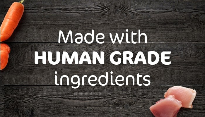 """Text that reads """"made with human grade ingredients"""""""