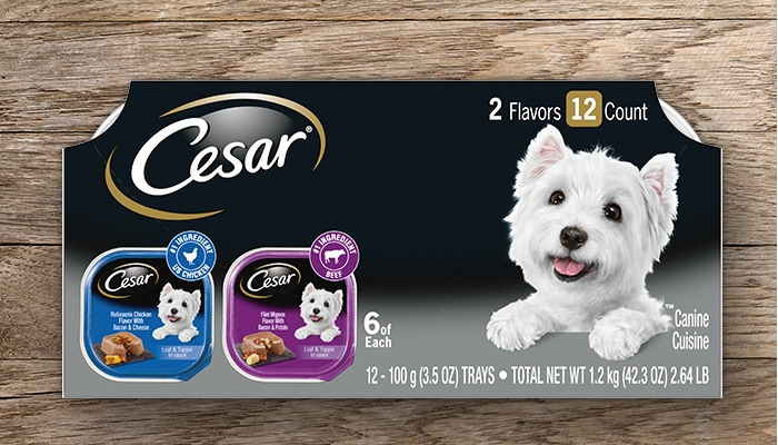 CESAR chicken and beef multipack of dog food
