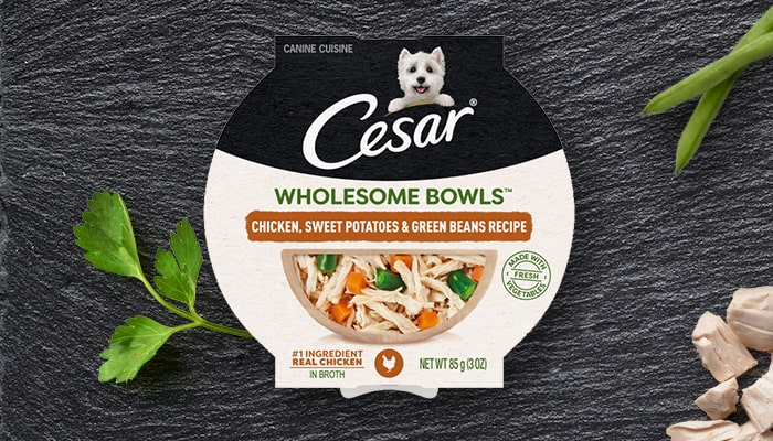 Cesar wholesome bowl chicken, sweet potatoes, green beans recipe