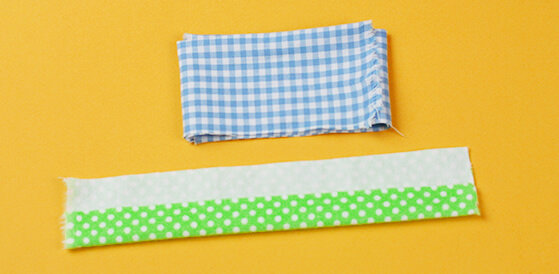 gingham material and polka dot material